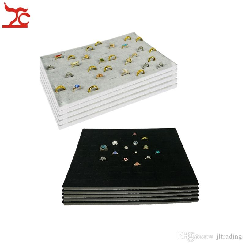 Wholesale 5Pcs Black Grey Velvet Foam Ring Earrings stud Insert Counter 100 Slot Velvet Tray Insert Ecconomic Organizer Display Liner Box