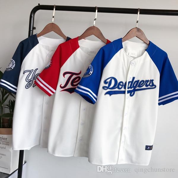 Wholesale-2018 الصيف الهيب هوب الرياضة الأزياء البيسبول تي شيرت الكورية نمط فضفاض للجنسين رجل إمرأة قمزة قمم المد موخيريس camiseta t-shirt