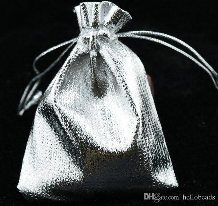 100 Pz / lotto ARGATO PLACCATO Moda Organza Gioielli Regalo Sacchetti Del Sacchetto 4 TAGLIE Sacchetto Drawstring Organza Regalo Sacchetti di Caramelle Sacchetti Regalo FAI DA TE