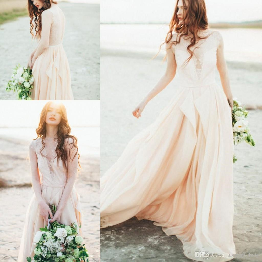 Sheer Lace Blush Pink Wedding Dress 2018 Sexy Plunging V-neckline See Through Colored Bridal Gowns Flowing Chiffon Vintage Beach Dresses