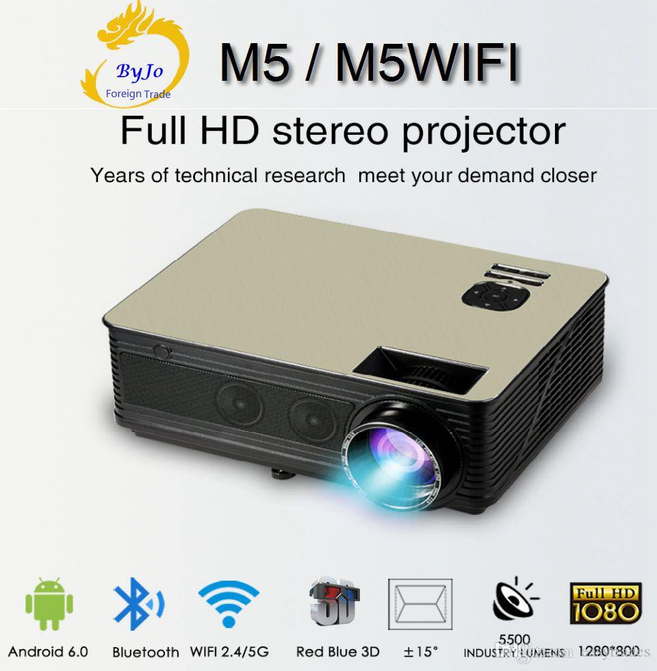 Großhandels-M5-Reihe LCD LED voller HD 1080P Projektor 5500 Lumen Unterstützung HDMI VGA USB Android 6.0 WiFi Bluetooth Eingebauter HIFI-Sound-Proyector