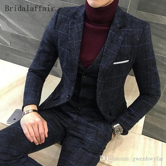 Gwenhwyfar 2018 Fashion Wedding Men Suit Set 3 Pieces British Navy Blue Plaid Mens Suits Tweed Male Tuxedo Casual Blazer (Jacket+Pants+Vest)