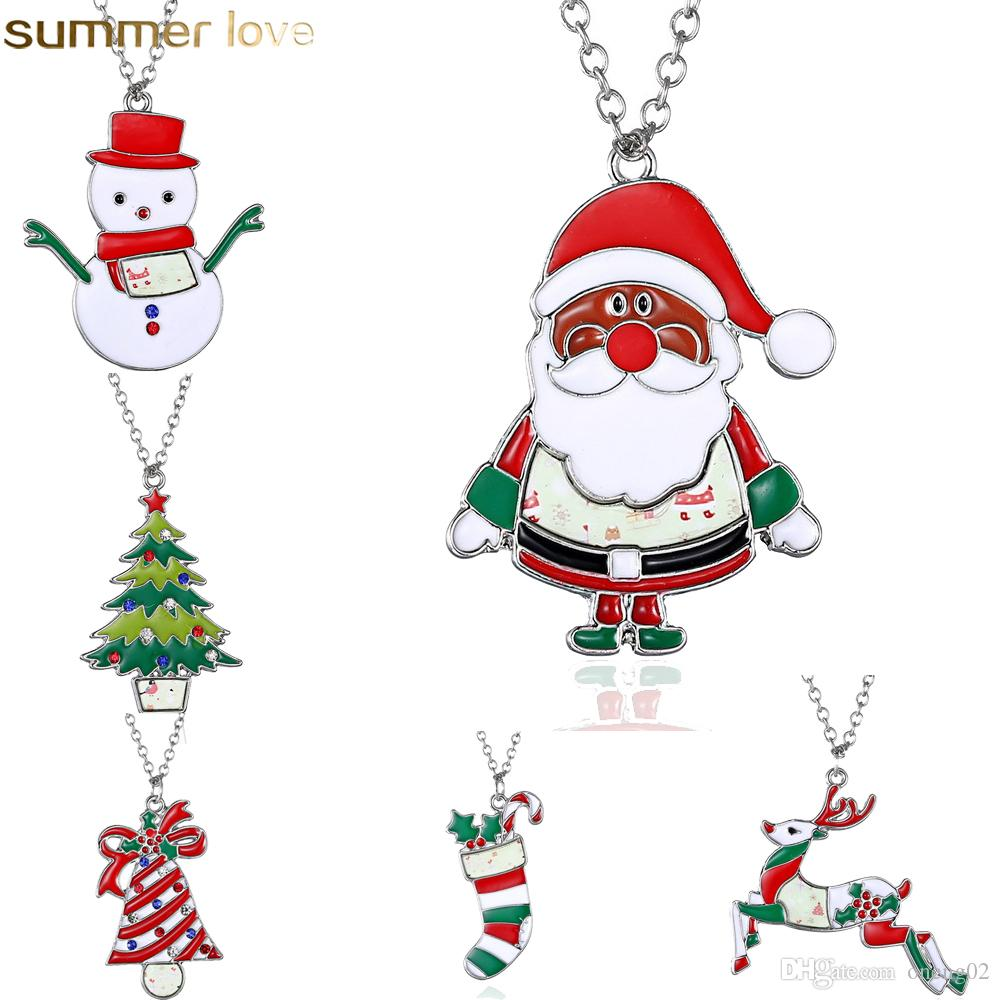 Christmas Necklace Enamel Jewelry Print Snowman Deer Socks Christmas Tree Pendant Cute Necklace New Year Gift For Kids