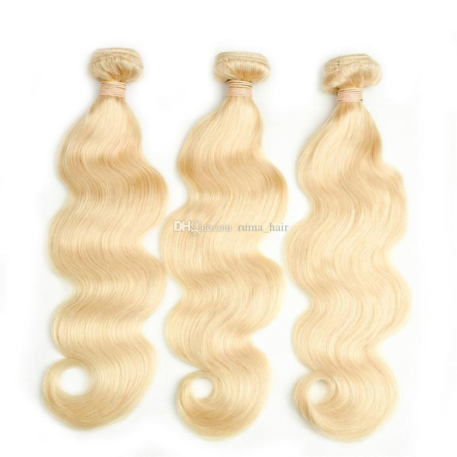Platinum Blonde Human Hair Bundles For Black Women 3 Bundles Deals #613 Body Wave Peruvian Virgin Hair Weft For Sale