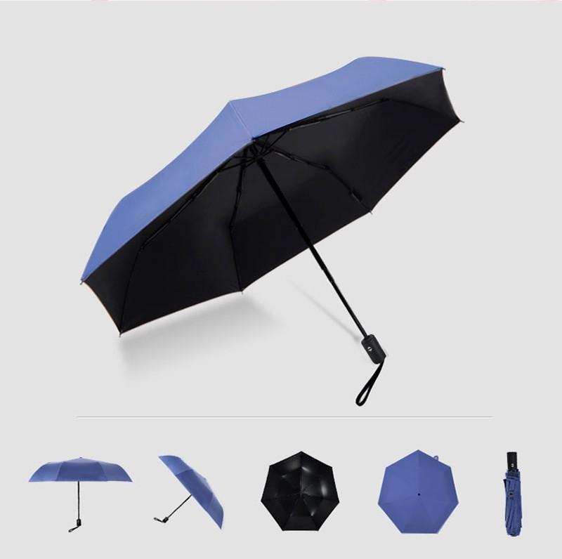 Fashion White Auto Open Auto Close Umbrella Rain Women Men 3 Folding Automatic Umbrella Black Coating Sun Umbrella18