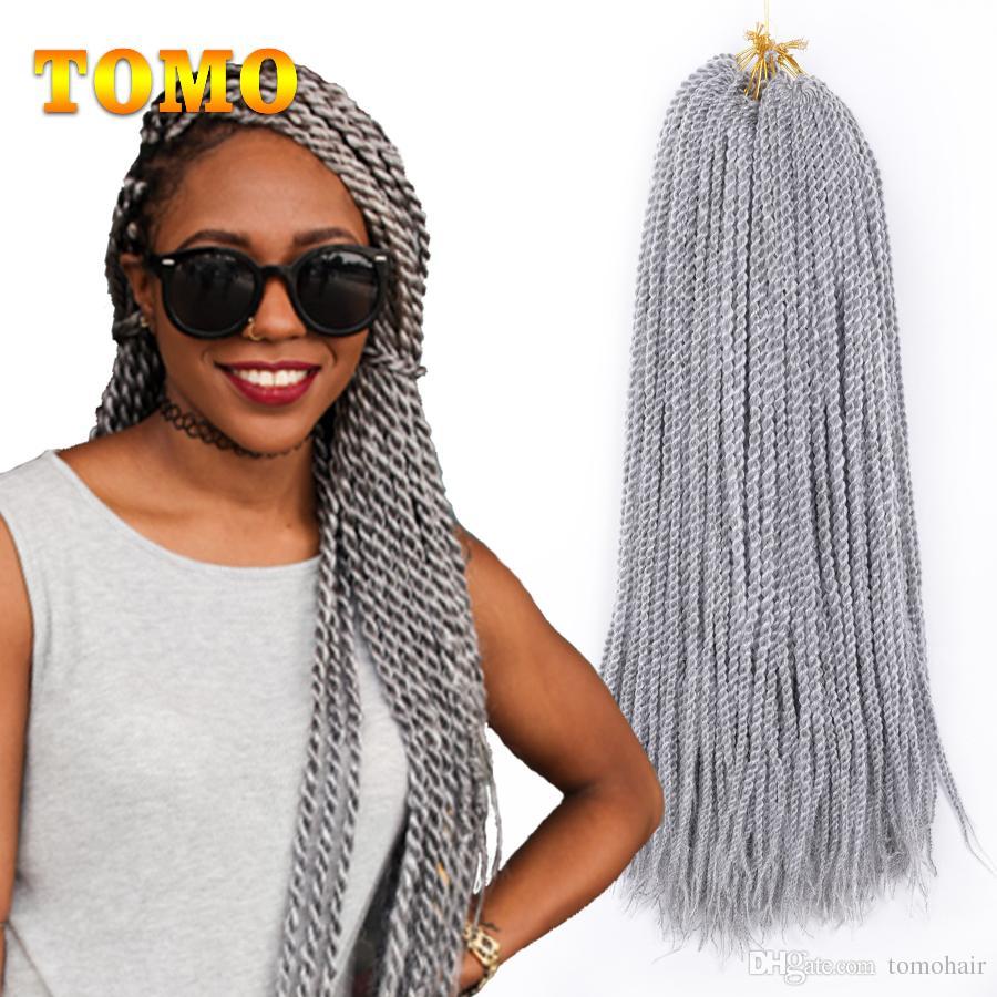 TOMO Senegalese Twist Braids Crochet Kanekalon Synthetic Pure/Ombre Grey Black/White Woman Crochet Braiding Hair Extensions 22 Strands/Pack