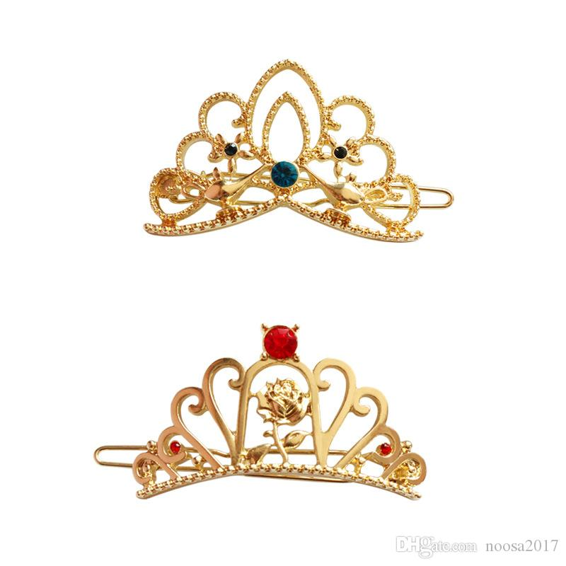 New Alice series rhinestone crown hairpin Trendy Vintage alloy flower Hair Pin Clip Hairpin young Girls Metal Jewelry hair party Accessories