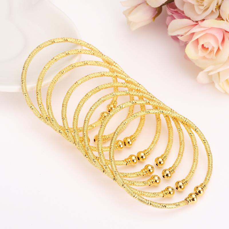 6шт золота filledAfrica ювелирных изделий Эфиопский Bling браслет Дубай Индии браслет для женщин Подарки мужчин Дети подарки на день рождения
