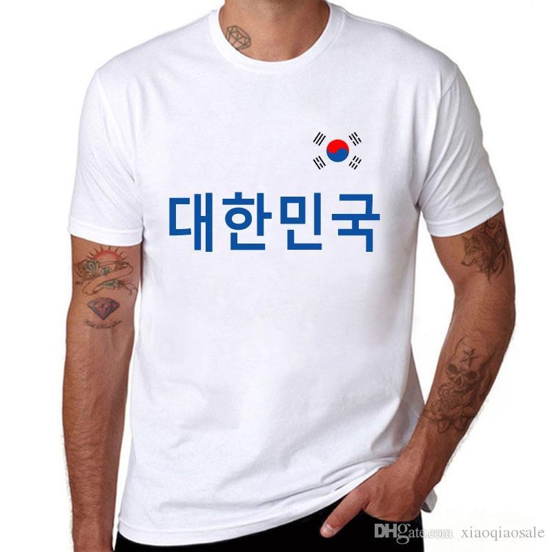 Summer New T Shirt Men Casual Cotton Korea Fans Cheer O neck Short Sleeve Flag Letters Print Brand Clothing