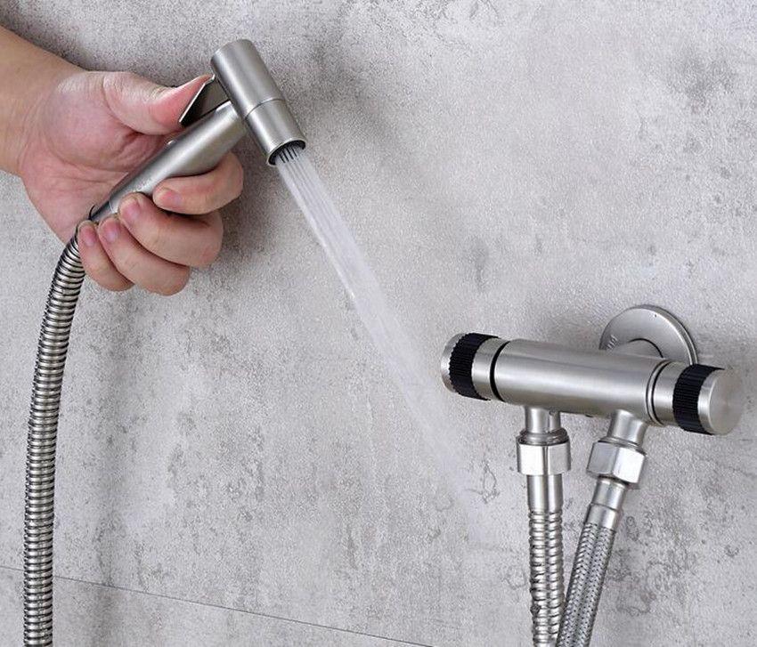 2020 Brushed Nickel Stainless Steel Toilet Handheld Bidet Douche Shower Spray Shattaf Kit W G1 2 Valve Set From Homebathic7 41 Dhgate Com