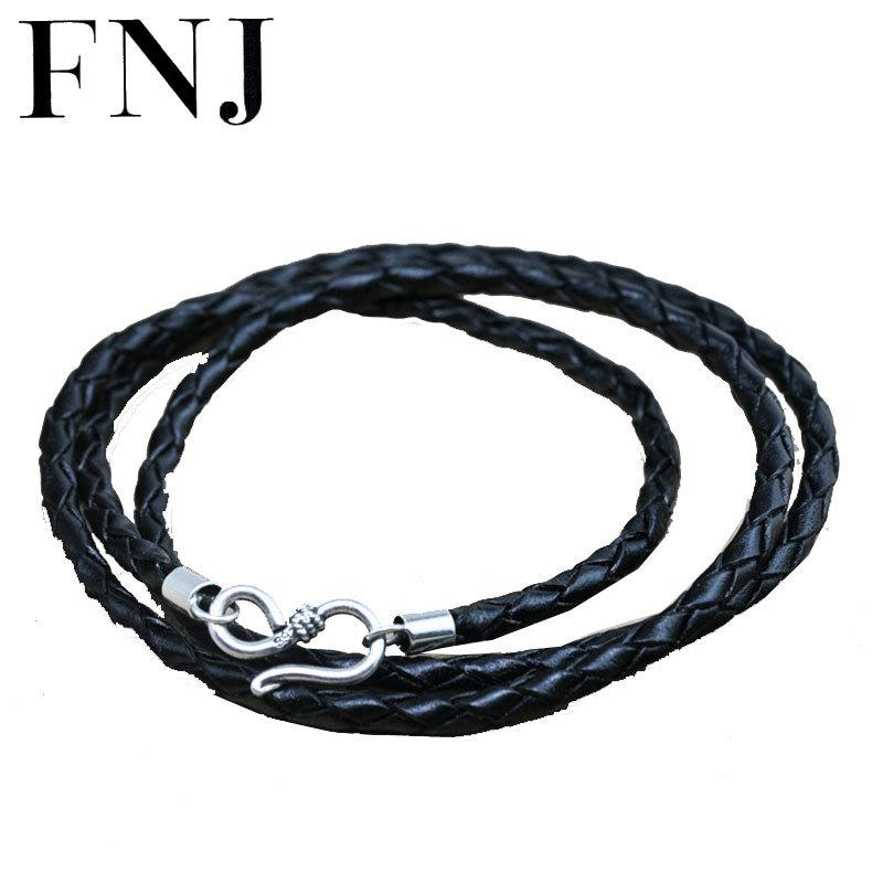 Genuine Leather Chain 925 Sterling Silver Necklace for Women Men Jewelry Accessories Black Thai S925 Solid Silver Jewelry Making Y1891908