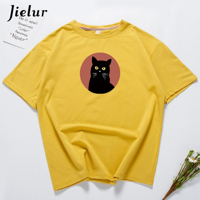 7 Color Harajuku Gothic Cat Camiseta Feminina Camisetas Mujer Verano 2018 Hipster Coreano Camisetas Coon Women Tee Top Femme