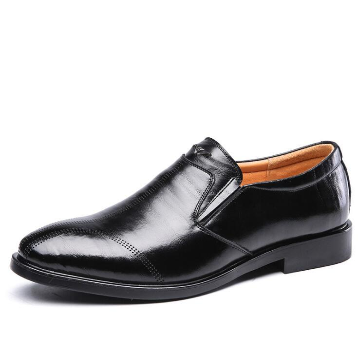 New Men's Male Black Brown Business Formal Slip-On Pointed Toe Genuine Leather Carved Wedding Mens Office Business Shoes