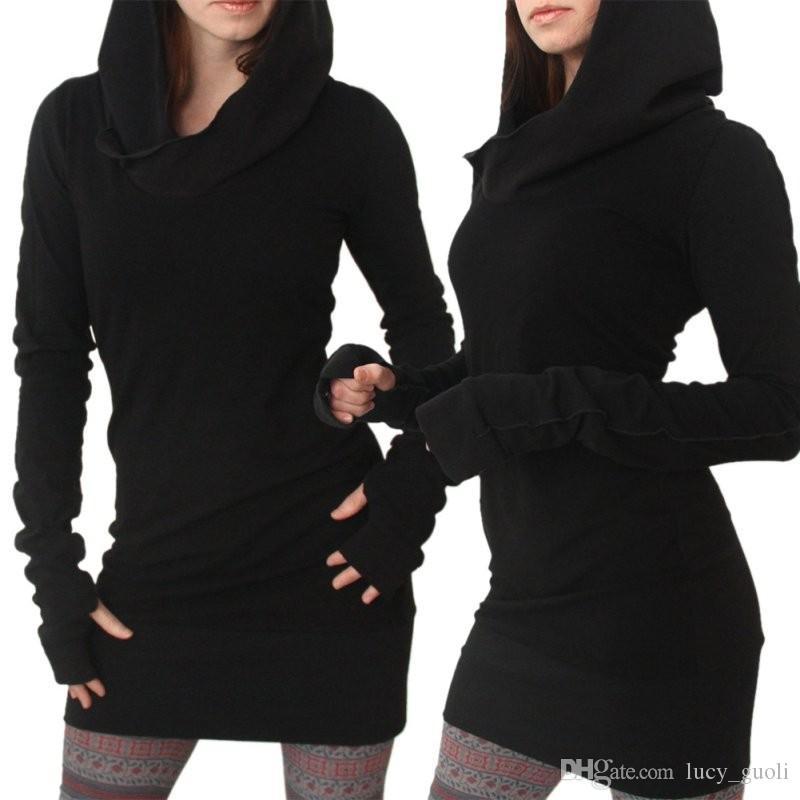 Vestidos 2017 Warm Winter Women Oversized Casual Straight Solid Dress Ladies Long Sleeve Hooded Pockets Mini Dresses Plus Size S-XXXL