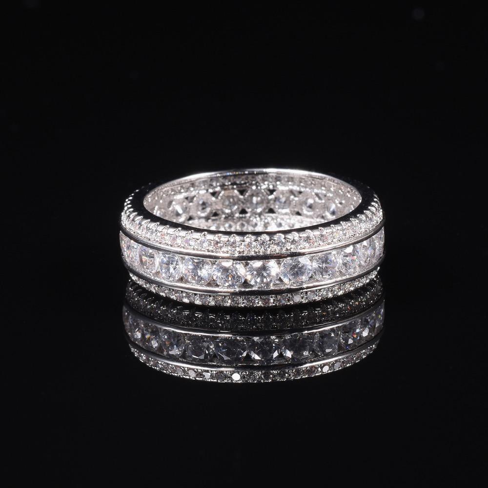 ETERNITY BAND ENGAGEMENT WEDDING RING DIAMOND simuliertes PLATINUM Größe 6,7,8,9,10 Y1892606