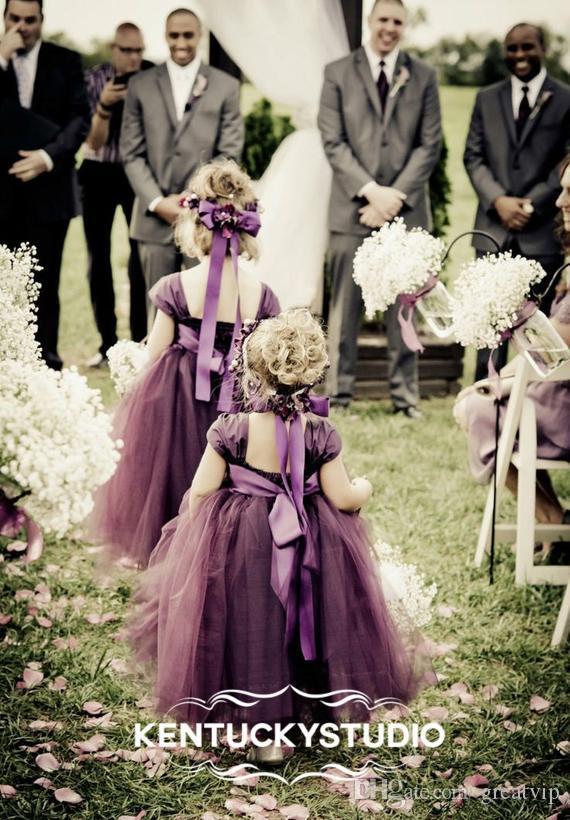 Слива Цветок Девушки Платья Длиной До Щиколотки Дети Платье Невесты Театрализованное Партия Принцесса Платья Халаты Де Fête