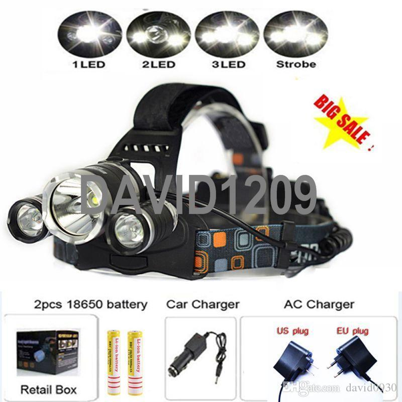 CREE XML T6 Rechargeable LED Headlight Headlamp Head Lamp Ligh For Bicycle Camping Hiking by2*18650 battery(not include)