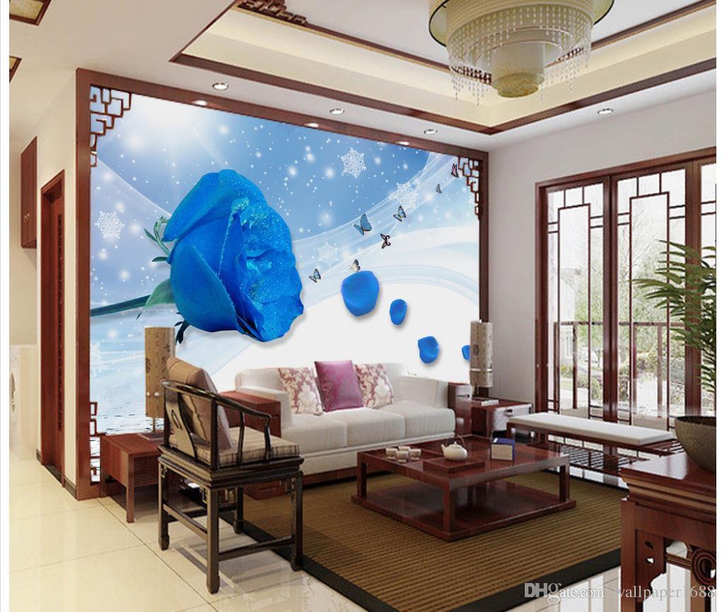 Пользовательские фото обои Большие настенные росписи обоев Красивые голубые розы отражение обои росписи обоев для гостиной Установка телевизора