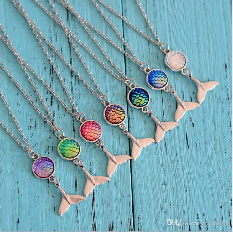 Escala de pescado sirena cabujón collar de plata de la cola de sirena colgantes de cadena para mujeres niñas joyería de moda regalo