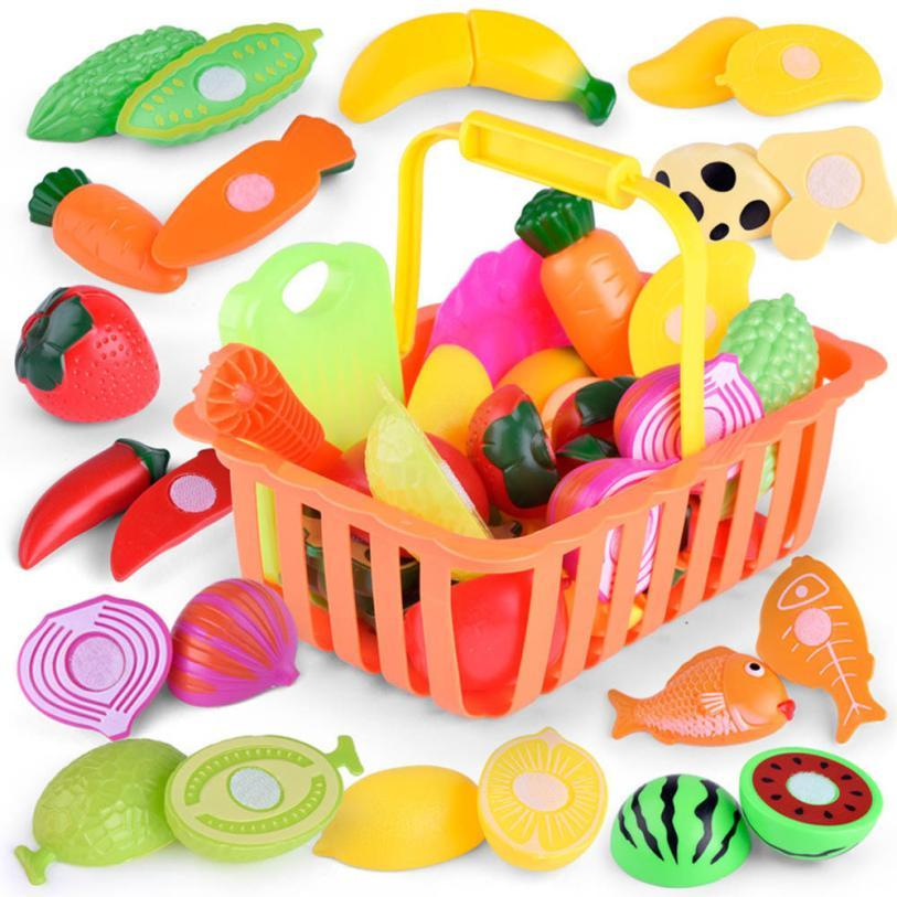 Kids Pretend Role Play Kitchen Fruit Vegetable Food Toy Cutting Set Gift Toy Drop Shipping free shipping