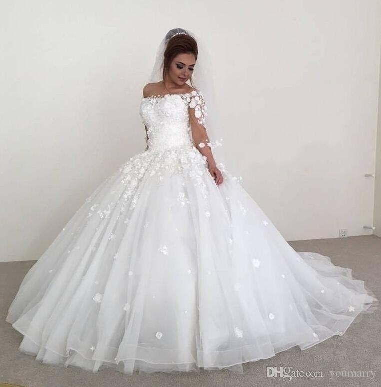 Princess 3D-Floral Ball Gown Wedding Dresses 2019 Off Shoulder 34 Long Sleeves Plus Size Arabic African Vestido De Novia Muslim Bridal Gown