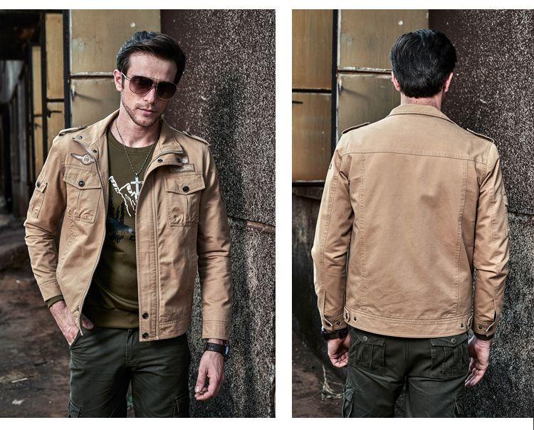 Новая весна осень военные армейские куртки модные мужские повседневные куртки Slim Fit мужчины хлопок куртка плюс размер M-6XL