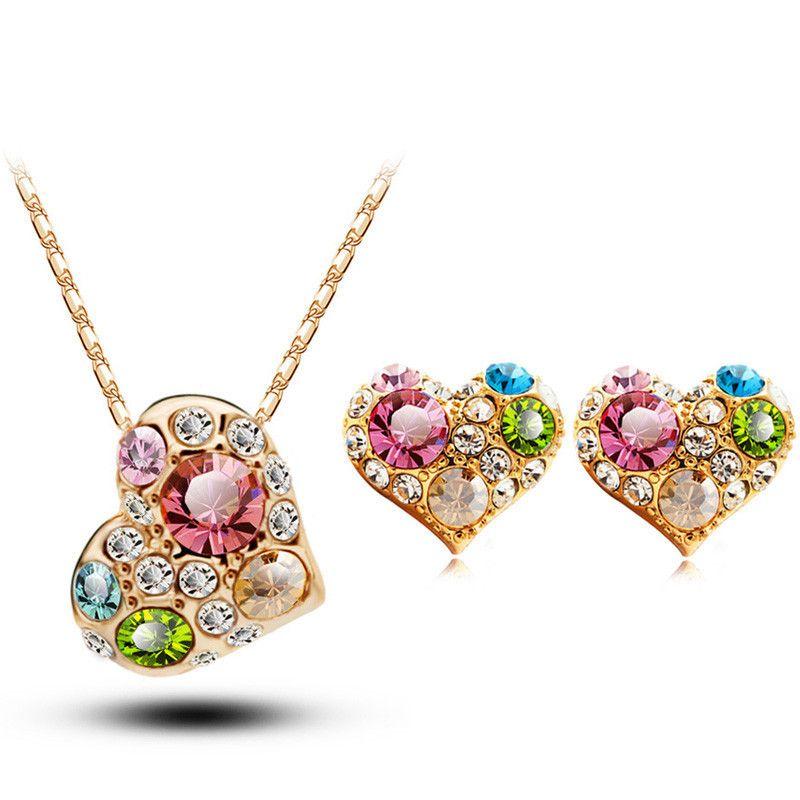 Kristall-Diamant-Herz-Ohr-Nagel-Halskette Anzug Schmuck Anzug Online