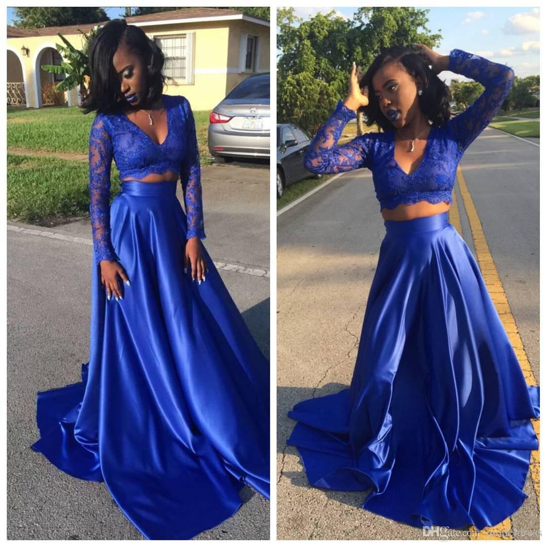 2019 Sexy Two Pieces Black Girl Prom Dresses Long Sleeves Lace Top Long Royal Blue Arabic Party Pageant Evening Gowns Cheap Customized