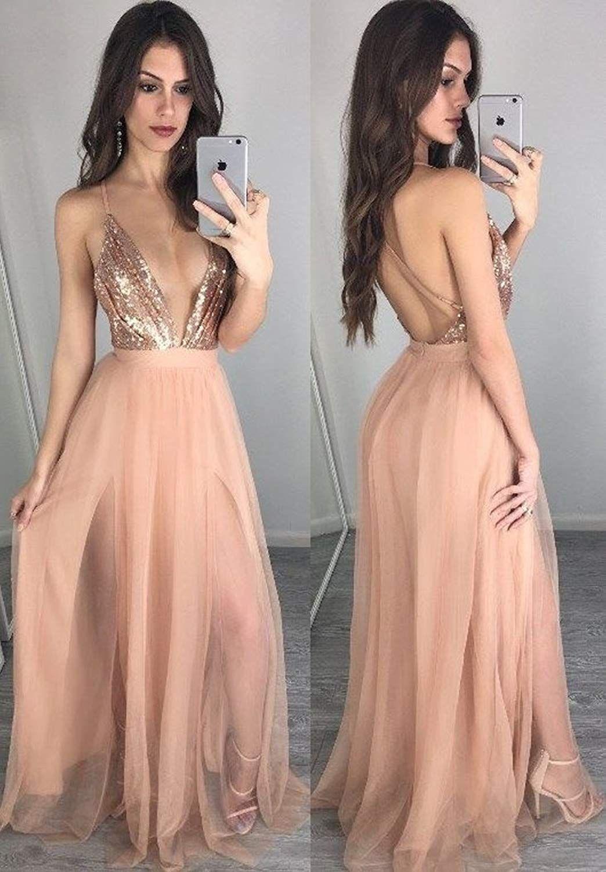 Top Sequins Gold Evening Dresses Deep V Neck Floor Length Chiffon robes de soirée Longue Cross Backless Maxi Formal Prom Gown 2019