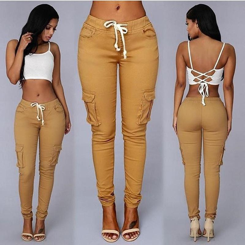 Women Drawstring Pockets Casual Pants Sexy Clothes Leggings Trousers Skinny Pencil Jeans Army Trousers