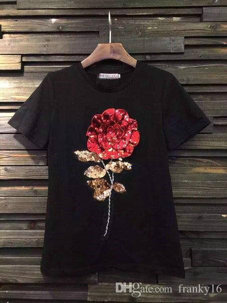 e84fbf322 Fashion Rose Embroidered T-Shirt For Women Short Sleeve T Shirt Tops Size S  M L Female Tshirt Clothing Ladies