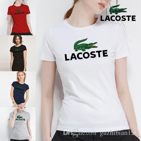 2018 top mulher de alta qualidade marcas de algodão carta impressão tshirt casuals estilo para esporte das mulheres polos s-xl
