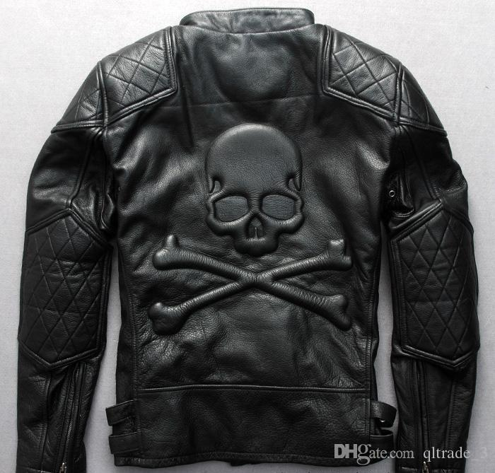 Stand collar mad cross country 100% genuine leather motorcycle suit jacket men steel seal skull thick leather jackets