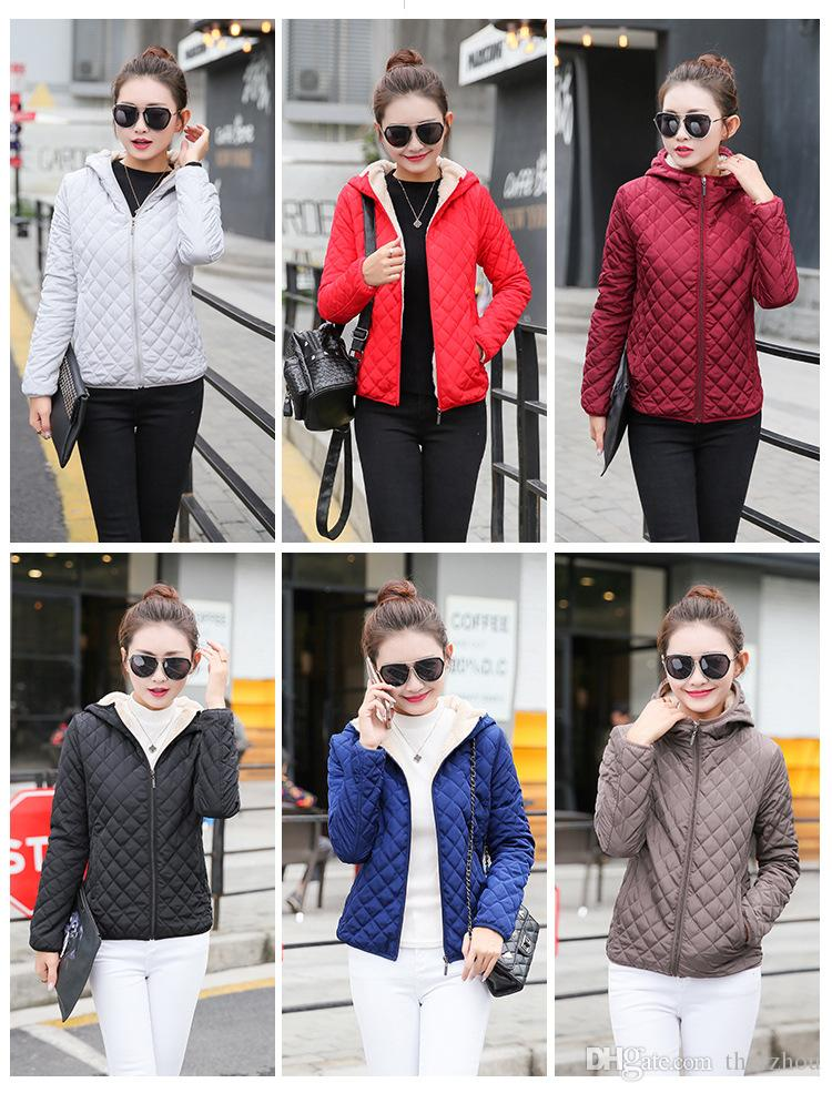 Herbst Winter Jacken Baumwolle Stoff Reißverschluss Design einfarbig lange Ärmel Kunstpelz Liner Frauen Mäntel