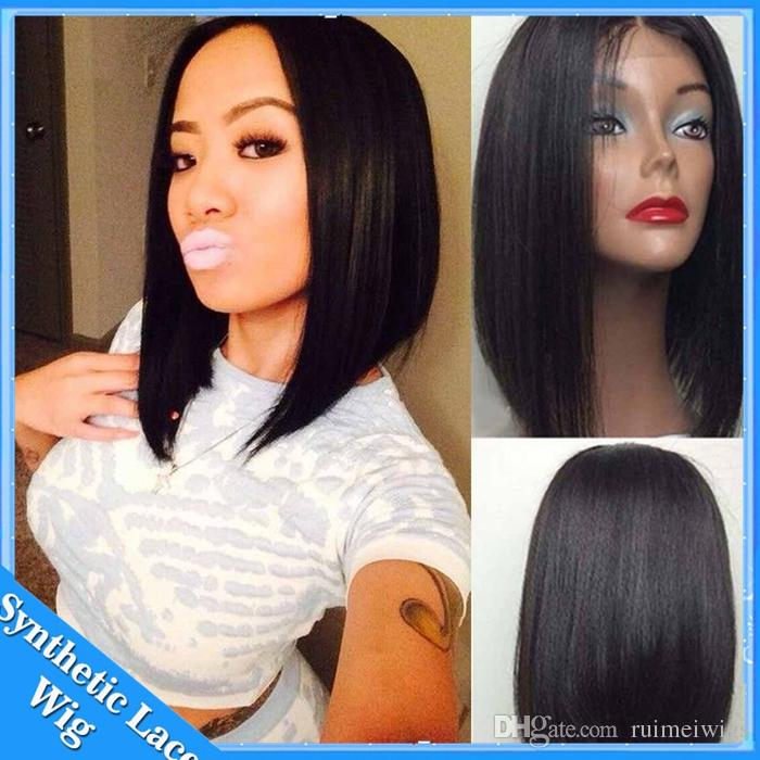 Short Bob Straight Wig Synthetic Lace front Wig for Woman Short Black Hair Glueless Front Lace Bob Wig Heat Resistant Natural Cheap Hair