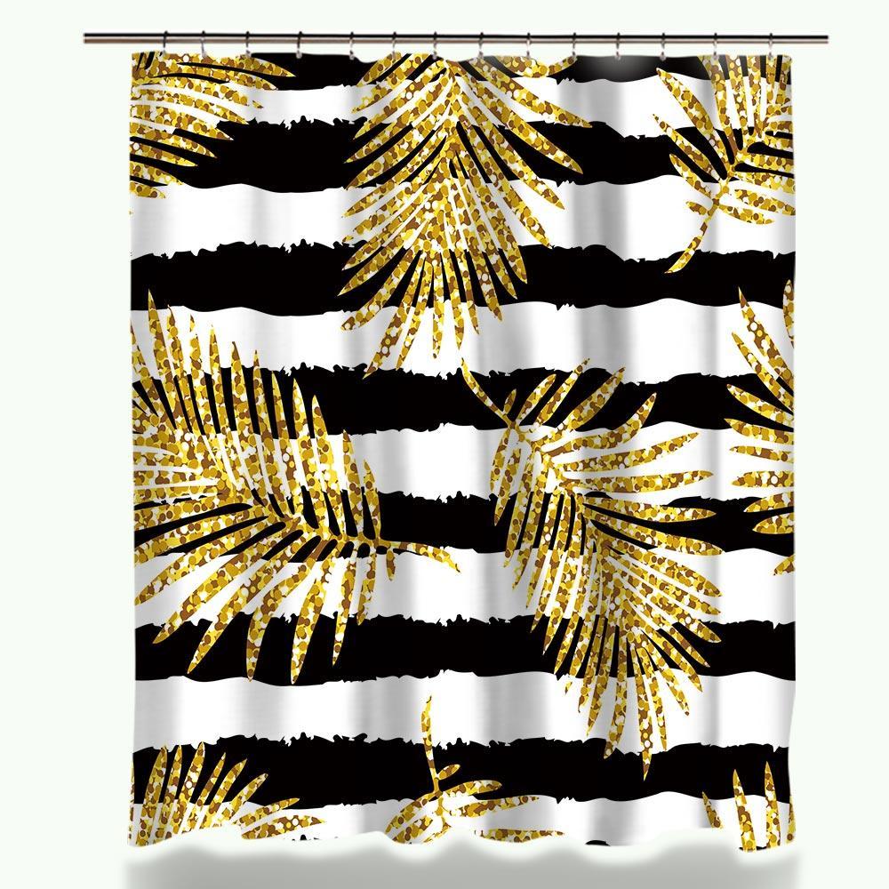 새로운 디자인 Miracille 현대 반짝이 골드 잎 파인애플 인쇄 샤워 커튼 폴리 에스테르 방수 고양이 플라밍고 스타일 욕실 커튼
