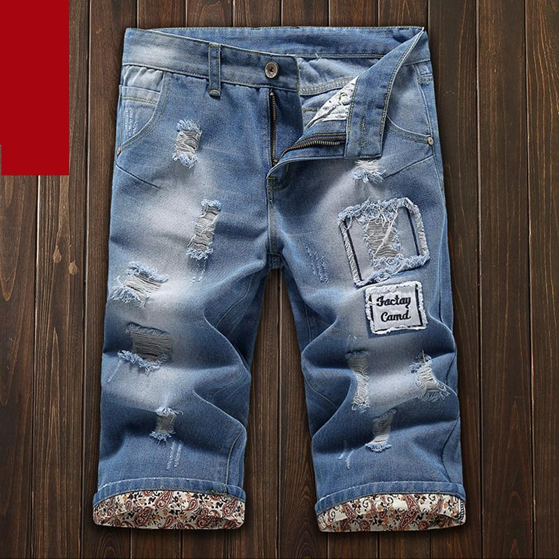 New Korean Hole Casual Men Style Summer Loose Slim Super Large Denim Jeans Shorts Seven Minute Trousers Size 27-32 33 34 36 38
