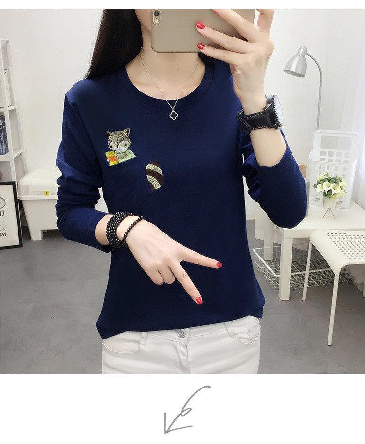 Embroidery T-shirts Women Tshirt O-neck Long Sleeve T-shirts Women Autumn Tops Tee Shirt Femme 2019 Cotton Camisetas Large Size (9)