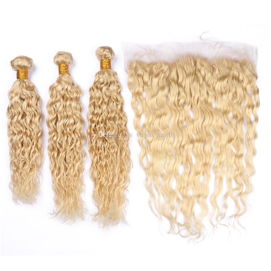 Ondas de agua Virgen brasileña Rubio Tramas de cabello humano con frontal húmedo y ondulado # 613 Rubio 13x4 Cierre frontal de encaje completo con 3 paquetes