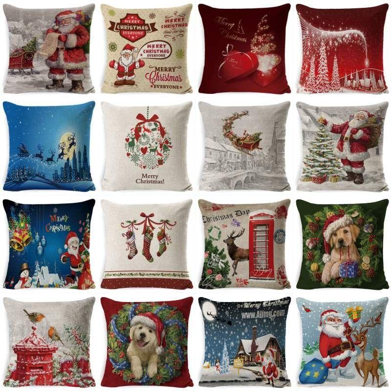 Рождество наволочка Рождество Сказочной Ночь Санки Снежинка наволочка рождественской елка Птица снеговик животные Подушка Обложка
