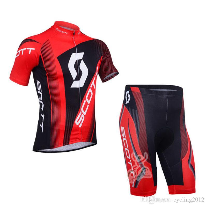 Scott Team transpirable para hombre ciclismo de manga corta Jersey Gel Pad Pantalones cortos Set Racing Bike Ropa Bicicletas Trajes Ropa Ciclismo S21020428