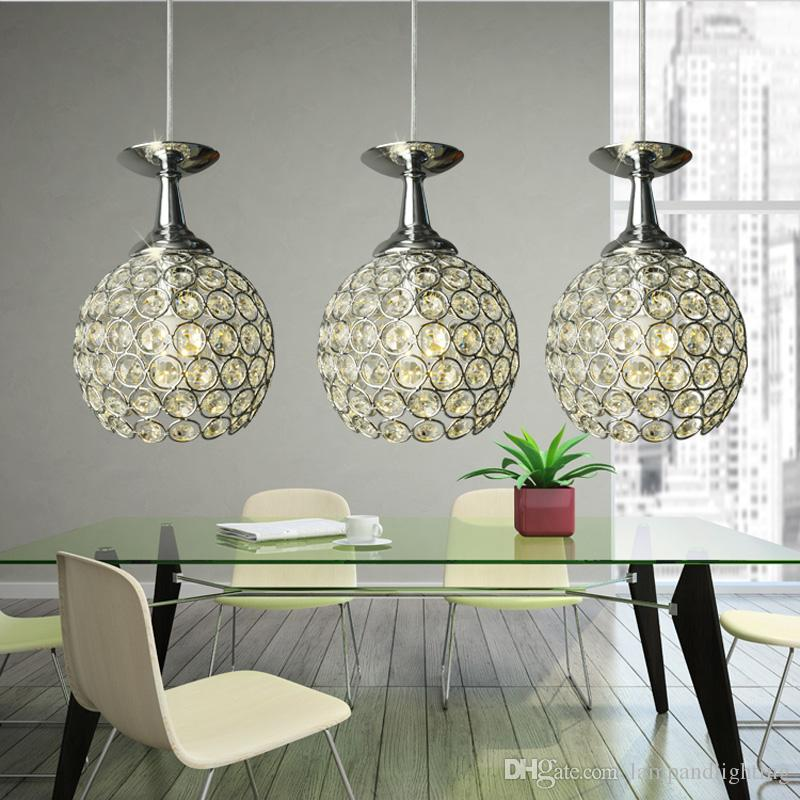 Modern gold silver single and 3 heads crystal ball beaded pendant lights hanging crystal lamp light fixture for dinning room bedroom lobby