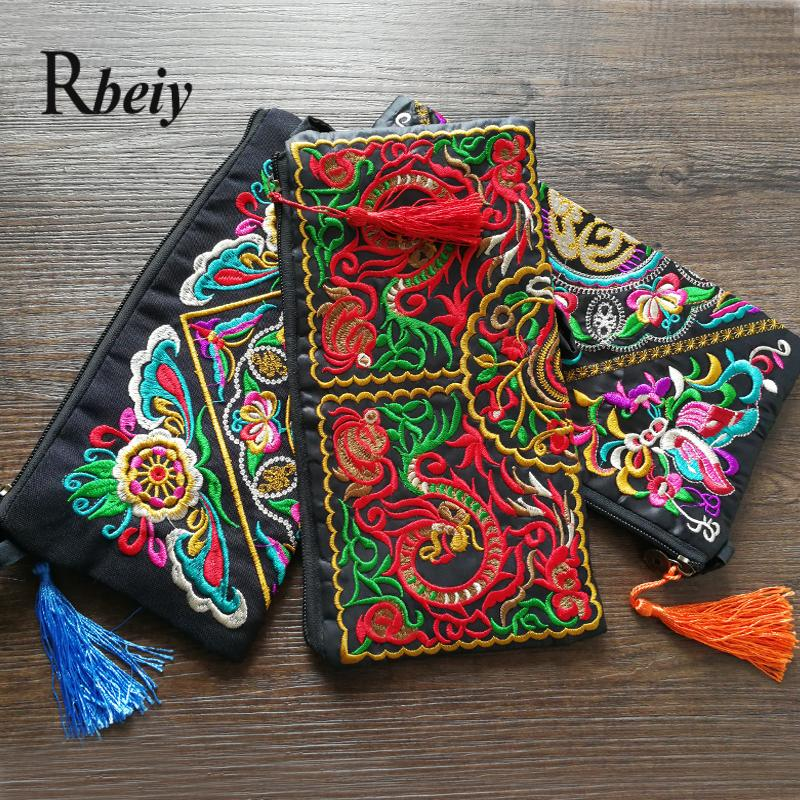 Ethnic embroidered canvas Wristlets vintage Mobile phone bags/coin purse brand embroidered Day Clutches