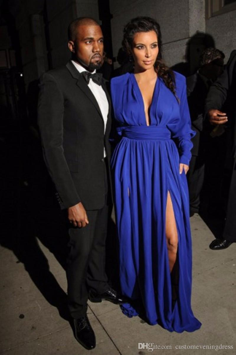 High Quality Cheap Red Carpet Dress Plunging Deep V Neck Royal Blue Chiffon Kim kardashian dress Long Sleeve Celebrity Dresses
