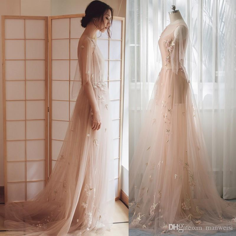 2018 Paolo Sebastian Flower Embroidery Prom Dresses Sheer Crew Neck Blush Pink Formal Party Gowns Vestidos De Fiesta Evening Dress