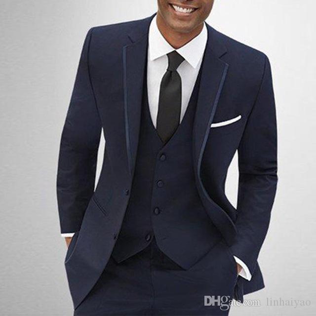 2018 de alta qualidade smoking formal noivo azul marinho terno de negócio elegante homens ternos para o casamento 3 peças (jaqueta + calça + colete)