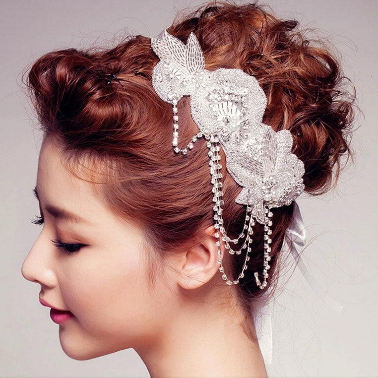 European and American fashion luxury diamond bridal headdress headband handmade pearl hair accessories
