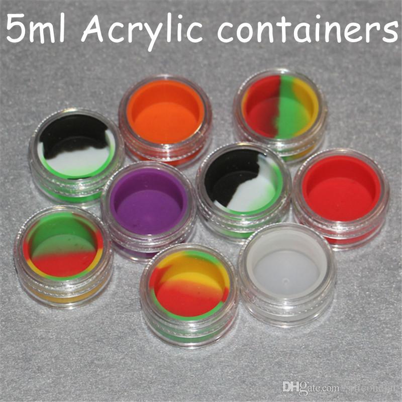 Scatola di plastica trasparente acrilico 5ml acrilico vaso bho vasi di silicone dab cera vaporizzatore vaso di olio contenitore silicone