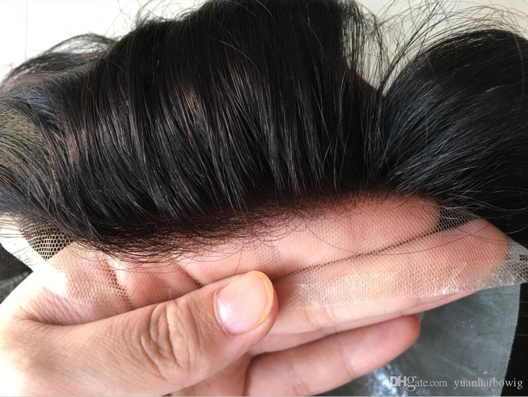 Q6 Men Toupee Black Color 32mm Wave Brazilian Human Hair Full PU Toupee Replacement for Men Free Shipping