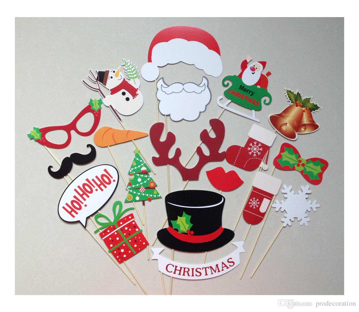 Merry Christmas Photo Booth Props 19pcs/set Photobooth Wedding Favors Glasses Paper Card Funny Mask Party Decoration Photocall